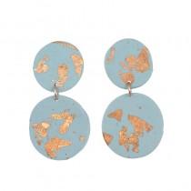 Blue Gold Foil Earrings
