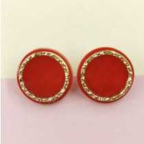 Button Earring (Red)