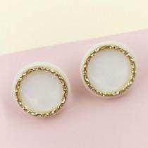 Button Earring (White)