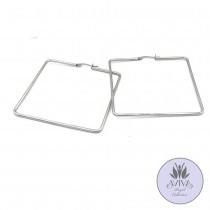Square Hoop Earrings: Silver