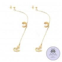 Swan Pendant Cuff Earrings