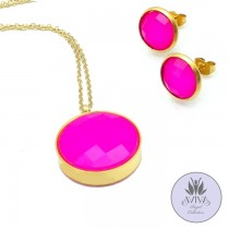 Fuchsia Fan Necklace Set