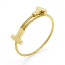 Gold T Winding Bracelet