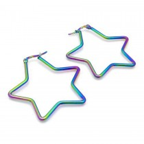 Rainbow Star Hoop Earring