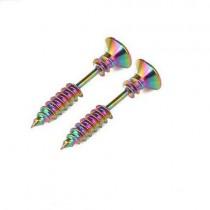 Double-sided Screw Earrings (Rainbow)