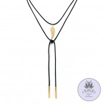 Leather Angel Wing Lariat