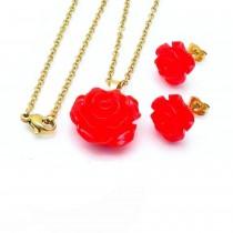 Rosette Necklace Set (Red/Gold)