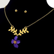 Violet Flower Necklace Set