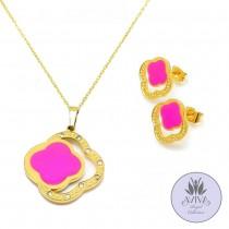 Pink Splash Necklace Set